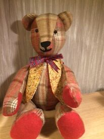 Teddy Bear 100% Wool Material with Tartan Bow - Handmade - Unique Gift