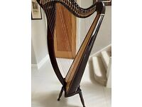 Elysian 34 string lever harp. Good condition. Originally purchased from Clive Morley Harps.
