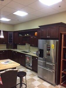 Beautiful cherry kithcen cabinets with granite countertops
