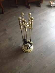 Heavy Polished Brass Fireplace Tools