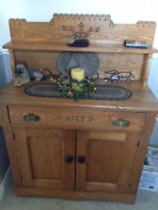 Pine Buffet - Antique - Hand carved