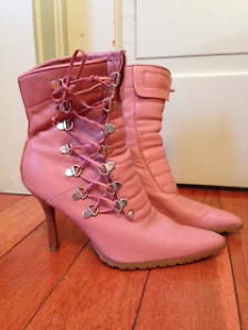 Pink Side Lace up Boot