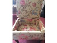 Traditional Vintage Antique Sewing Box / Footstool covered with Laura Ashley fabric