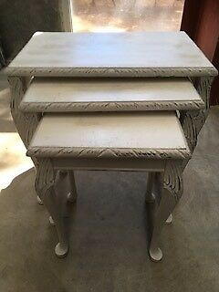 Nest of Tables(3)-Shabby Chic/French Provincial, solid wood, vgc