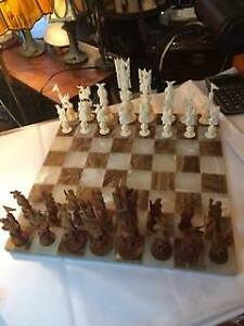 Chess Set. Hand carved ivory and teak.