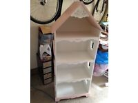 GIRLS SHELVING UNIT IN PINK AND WHITE