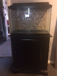 Fish Tank with Wood Cabinet