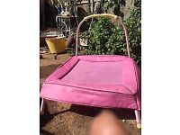 Pink ELC trampoline with handrail