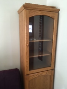 Tall oak cabinet/shelf