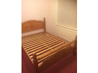 """King size solid Pine bed 1620mm (63 3/4"""") W x 2150 (84 5/8"""") L complete with IKEA King size mattress"""