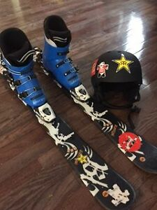 Skiis, boots and helmet package
