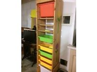 Ikea tall narrow storage unit with plastic box inserts