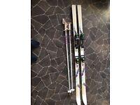 mens 185 ski poles and bag salmon 477 bindings little use