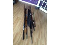 Selection of fishing rods and reels