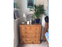 Solid wood bedroom furniture - single bed, chest of draws, wardrobe