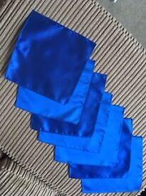 7 Royal Blue Wedding Ruches and matching Handkerchiefs