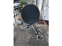 85CM PORTABLE SATELLITE DISH WITH TWIN LNB,STAND AND 240V/12V SATELLITE TV RECEIVER