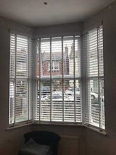 White Wooden Venetian Blinds Taped 3 Fit Bay Window