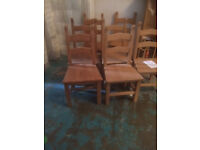 Solid beech dining chairs with wood seat