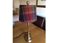 Beautiful Solid Brass Table Lamp with a rich red & purple tweed check wool shade.