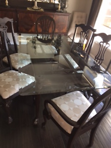 Solid Wood Glass Top Dining Table and Chairs