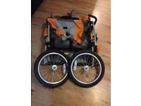 Double bike trailer plus stroller/pushchair conversion kit