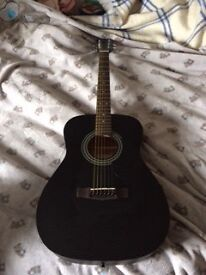 Black Acoustic Guitar Cort AF510 0PB with Ritter Carry Case