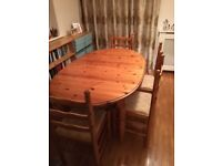 Solid Pine extendable dining table and six chairs - £30 ONO