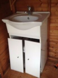 Vanity unit with sink, taps and double cupboard - £50