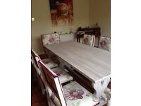RECLAIMED OAK SHABBY CHIC REFECTORY TABLE & CHAIRS