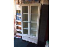 Ikea white display cupboard with glass doors