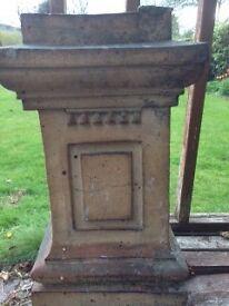 Victorian Chimney Pots, 5 in total, Rare square design, good condition