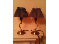 Two side or table lamps in brass with two lovely purpley blue crimped shades 10 pound for the 2