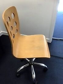 wooden height adjustable chair on wheels!- ideal for office or home