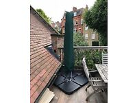 Cantilever Parasol GREEN 3.5 m Diameter + uv protection with Protective Cover + base