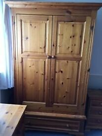2 Pine wardrobes, 1 pine chest of drawers, 1 pine dressing table with mirrow & 2 pine pedestals