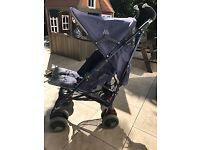 Beautiful Blue Maclaren Techno XT pram available with winter and rain covers!