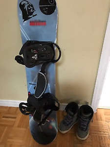 Snow boarding set - Boots, Board, and bindings