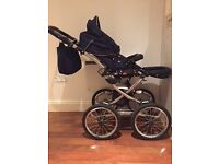 Classic baby pushchair 3 in 1 stroller, buggy & car seat with all accessories