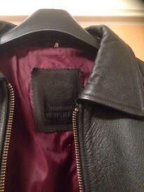 Men's black leather jack daniel's jacket, XL. Excellent condition, hardly worn.