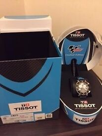 Tissot t race watch, complete with box, instructions and presentation collectable motorcycle helmet