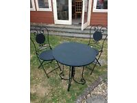 Cast Iron Black Table and Chairs