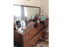 Large wardrobes (x2) and dressing table with mirror, 1930s style/finish