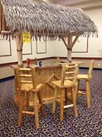 Brand New Hand Crafted Tiki Bar Set with 4 Sturdy stools