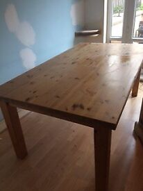 solid pine table and 6 painted chairs