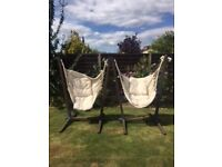 Two Swing chairs with cushions. ***SOLD***