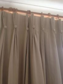 Pair of lined curtains, beige