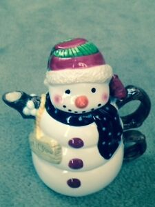 Christmas Snowman Teapot with Cup - NEVER Used