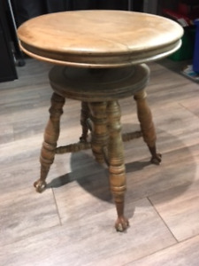 Oak Piano Stool with Glass Clawed feet