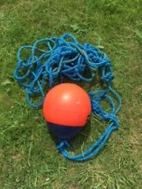 Orange Buoy and rope for sale approx 12 inch diameter pear shape good condition £5